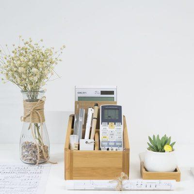 Japan Style Bamboo Storage Box Table Organizer 4 Slots Multi-Use Storage Box Wood Office Organizer Remote Controller Holder