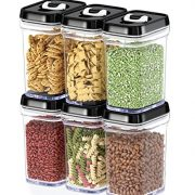 Dwellza Kitchen Airtight Food Storage Containers with Lids – 6 Piece Set/All Same Size - Air Tight Snacks Pantry & Kitchen Container - Clear Plastic BPA-Free - Keeps Food Fresh & Dry