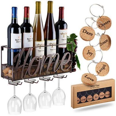 Wall Mounted Wine Rack   Bottle & Glass Holder   Cork Storage Store Red, White, Champagne   Come with 6 Cork Wine Charms   Home & Kitchen Décor   Storage Rack   Designed by Anna Stay,Home