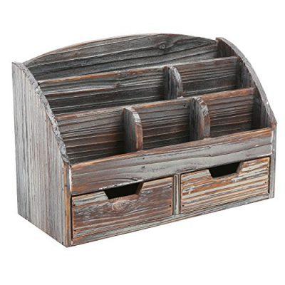 MyGift Distressed Wood Desk Organizer, 6 Compartment 2 Drawer Supplies Rack, Brown