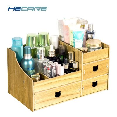 HECARE Folding Wooden Drawers Storage Box Jewelry Container Handmade DIY Assembly Cosmetic Organizer Makeup Organizer Box Case