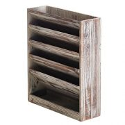 5 Slot Rustic Torched Wood Document Filing Organizer, Wall Mounted Magazine Rack