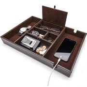 West End Warehouse Valet Tray for Men, EDC Tray, Nightstand Organizer, Table Organizer, Charging Station, Catch All, Dresser Tray, Dark Brown Faux Leather, 6 Compartments