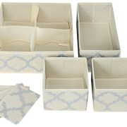 Set of 4 Organizer Bins with Dividers for Closet Dresser Drawer Inserts Bathroom Dorm