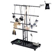 Necklace Holder 3 Plus 1 Tier Tabletop Jewelry Organizer Jewelry Stand with Ring Tray to Organize Necklaces, Bracelets, Earrings, Rings and Watches, Black