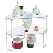 mDesign Corner Plastic/Metal Freestanding Stackable Organizer Shelf for Bathroom Vanity Countertop or Cabinet for Storing Cosmetics, Toiletries, Facial Wipes, Tissues, 2 Pack - Clear