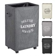 WOWLIVE Large Rolling Laundry Hamper Basket with Wheels Durable Dirty Clothes Bag Collapsible Rectangular Washing bin (Beige) (Grey2)