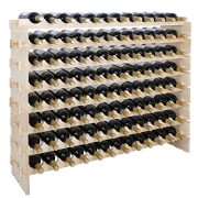 smartxchoice 96 Bottle Modular Wine Rack, Stackable Wine Storage Rack Free Standing Floor Wine Holder Display Shelves, Solid Wood - Wobble-Free (96 Bottles)