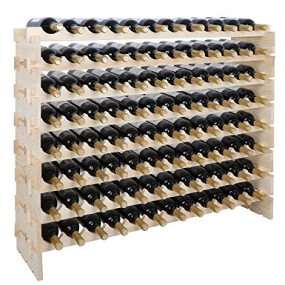 smartxchoice 96 Bottle Modular Wine Rack, Stackable Wine Storage Rack Free Standing Floor Wine Holder Display Shelves, Solid Wood - Wobble-Free (96 Bottles)