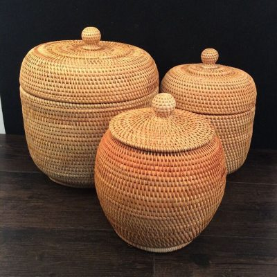 Vietnam beautiful autumn rattan weaving cane storage organizers Puer tea tin box rattan storage boxes with lids key organizer