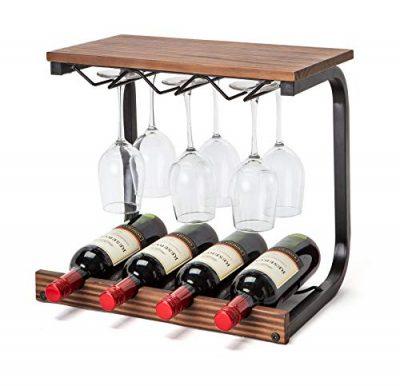 Soduku Wine Rack Wall Mounted Handmade Metal & Wood Wine Countertop Rack Wine Storage Shelf with 4 Bottle Cages & 6 Long Stem Glass (Walnut)