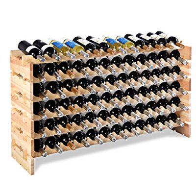 Giantex 72 Bottle Wine Rack Modular Bottle Display Shelves Wood Stackable Storage Stand Wobble-Free Wine Bottle Holder Organizer for Bar, Wine Cellar, Basement, Home Kitchen Free Standing Bottle Rack