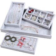 4 in 1 Stackable Velvet Jewelry Trays Drawer Oganizer Watch Rings