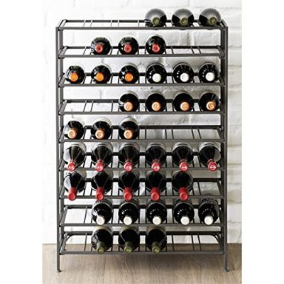 54 Bottle Connoisseurs Deluxe Large Foldable Gray Metal Wine Rack Cellar Storage Organizer Display Stand