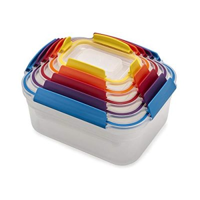 Joseph Joseph 81098 Nest Lock Plastic Food Storage Container Set with Lockable Airtight Leakproof Lids 10-piece Multicolored
