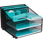 Office Desk Organizer Metal Mesh with 3 Paper Trays and 2 Vertical Upright Sections, Desktop File Holder for Letter Size A4, Folders, Stationary, and Desk Accessories