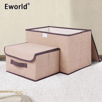 Eworld 2pcs Household Portable Box Waterproof Clothes Organizer Storage Box Underwear Bra Packing Makeup Cosmetic Coth Storage