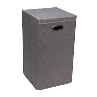Household Essentials 5620 Collapsible Single Laundry Hamper with Magnetic Lid - Grey