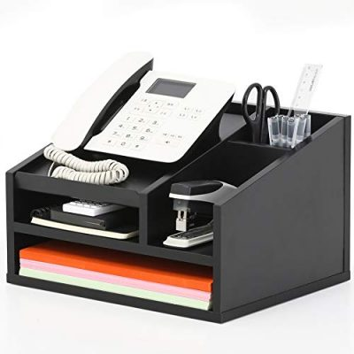 FITUEYES Wood Office Suppies Desk Organizer 5 Compartments with Letter Tray,Phone Stand,Pen Pencil Holder,Black (TR303501WB)