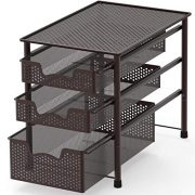 Simple Houseware Stackable 3 Tier Sliding Basket Organizer Drawer, Bronze