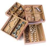Huji Stackable Jewelry Trays Organizer Storage Rings Earrings Bracelets Watches Necklaces (1, Camel Brown Stack-able Trays)