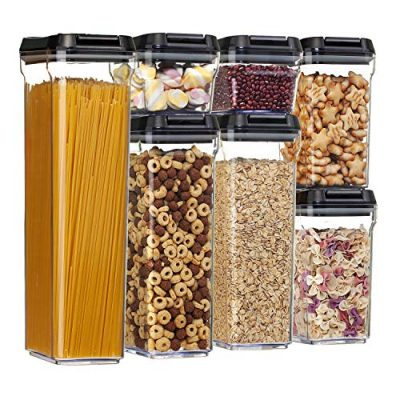 Airtight Food Storage Containers,Vtopmart 7 Pieces BPA Free Upgraded Plastic Containers with Black Lids,for Kitchen Pantry Organization and Storage,Include 24 Chalkboard Labels and 1 Marker