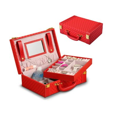 Bistratal Make Up Case Leather Jewel case Storage Box Cometic Case With Mirror Birthday Gift Box 1 Piece Free Shipping