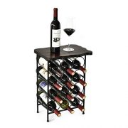WELLAND Laura 12 Bottle Wine Rack with Solid Wood Table Top, Metal & Wood Free Standing Wine Storage Rack, Rustic Pine Wood