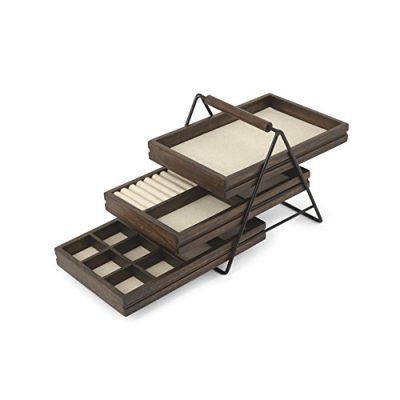 Three-Tier Jewelry Tray With Three Sliding Linen Lined Wood Trays