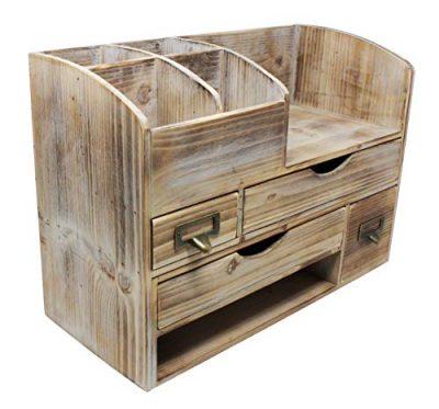Large Adjustable Vintage Rustic Wooden Office Desk Organizer & Mail Rack For Desktop, Tabletop, or Counter – Distressed Torched Wood Storage Shelf Rack – For Office Supplies, Desk Accessories, or Mail