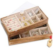 Keebofly Jewelry Tray with Lid Rustic Wood Jewelry Organizer Box
