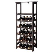 "VASAGLE 20 Wooden Wine Rack, Free Standing Bottles Display Storage Shelf, with 2 Slatted Shelves,18.4""L × 10.4""W × 42.9""H, Espresso ULWR03BR"