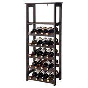 """VASAGLE 20 Wooden Wine Rack, Free Standing Bottles Display Storage Shelf, with 2 Slatted Shelves,18.4""""L × 10.4""""W × 42.9""""H, Espresso ULWR03BR"""