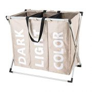 """Hosroome 3 Sections Laundry Hamper Laundry Baskets with Aluminum Frame (24.5""""x 15""""x 23"""") Dirty Clothes Bag for Bathroom Bedroom Home College Use,Beige"""