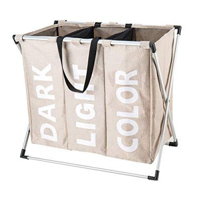 "Hosroome 3 Sections Laundry Hamper Laundry Baskets with Aluminum Frame (24.5""x 15""x 23"") Dirty Clothes Bag for Bathroom Bedroom Home College Use,Beige"