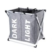 "Hosroome 2 Sections Laundry Hamper Laundry Baskets with Aluminum Frame (24""x 15""x 23"") Dirty Clothes Bag for Bathroom Bedroom Home College Use,Grey"