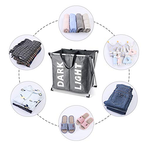 2eba6f36e045 Hosroome 2 Sections Laundry Hamper Laundry Baskets with Aluminum Frame