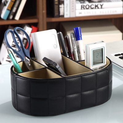 PU Leather Storage Box Remote Controller Phone Holder Home Office Organizer Storage Boxes Black White