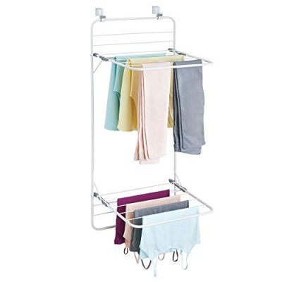mDesign Long Metal Lightweight Over Door Laundry Drying Rack Organizer, 2 Tiers - for Indoor Air Drying and Hanging Clothing, Towels, Lingerie, Hosiery, Delicates - Folds Compact