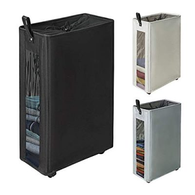 """ZERO JET LAG 27"""" Slim Laundry Hamper Large Tall Laundry Basket on Wheels Clear Window Visible Dirty Clothes Hamper Thin Clothes Storage Standable Corner Bin Handy 16""""×8.6""""×27"""" Black"""