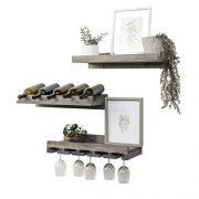 "Del Hutson Designs Rustic Handmade Wooden Wall Mounted Three Tiered Wine Rack 24"" (Grey)"