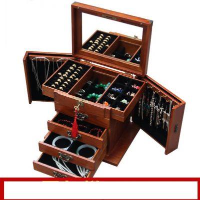Locking wooden jewelry box real princess continental retro multifunctional Storage box wedding wood gift Boxes Bins case