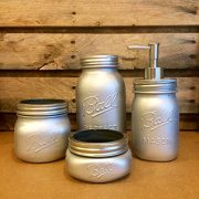 4 Piece Silver Mason Jar Desk Set, Silver mason jar bathroom set with soap dispenser, Silver Mason Jar desk organizer, Silver mason jar vanity set
