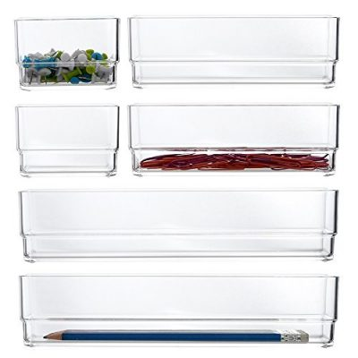 STORi Clear Plastic Vanity and Desk Drawer Organizers | 6 Piece Set