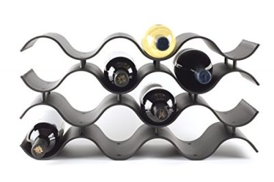 Birando Wave Wine Rack (12Bottle, Black)