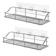 KESOL Adhesive Shower Caddy Bathroom Organizer Wall Shelf Storage Basket for Kitchen & Bathroom Accessories, SUS304 Stainless Steel, No Drilling- 2 Pack