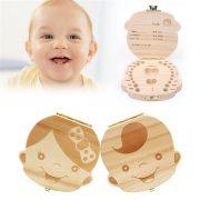 3-6YEARS German Deutsch Baby Teeth Box Organizer Save Milk Teeth Wood Storage Box Great Gifts Creative For Kids Boy Girl Image