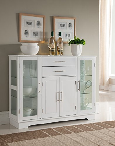 Kings Brand Furniture VD-60366HW Kitchen Storage Cabinet Buffet with Glass Doors, White