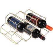 Buruis 7 Bottles Metal Wine Rack, Countertop Free-stand Wine Storage Holder, Space Saver Protector for Red & White Wines - Gold