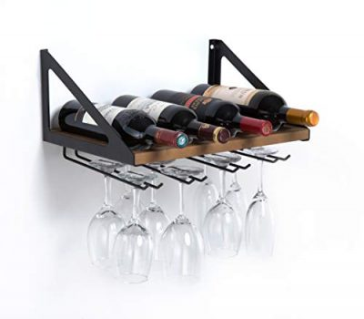 JackCubeDesign MK478A - Wall Mount Wine Rack with Glass Holder (Wood)